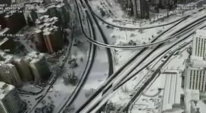 Así se ve la histórica nevada de Madrid, desde el aire